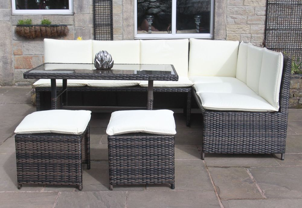 Rattan Corner Sofa Dining Set Outdoor Garden Furniture In Black Or Mixed  Brown