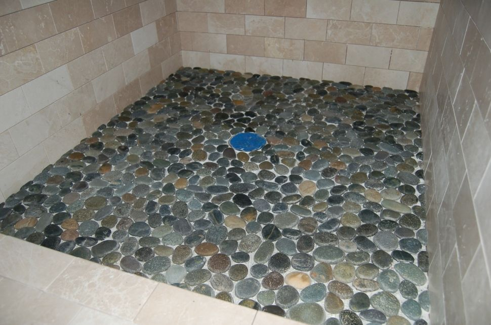 Flat Pebble Shower Floor Tile Natural Stone Home In Uncategorized Style Houses Flooring Picture Ideas
