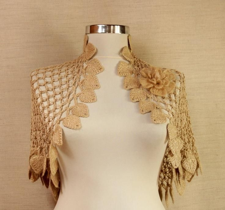 Land Of Dreams / Crochet Shrug With Flower Brooch Caramel-Gold ...