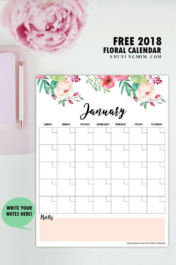 Free Printable 2018 Monthly Calendar and Planner in Florals - printable monthly calendars