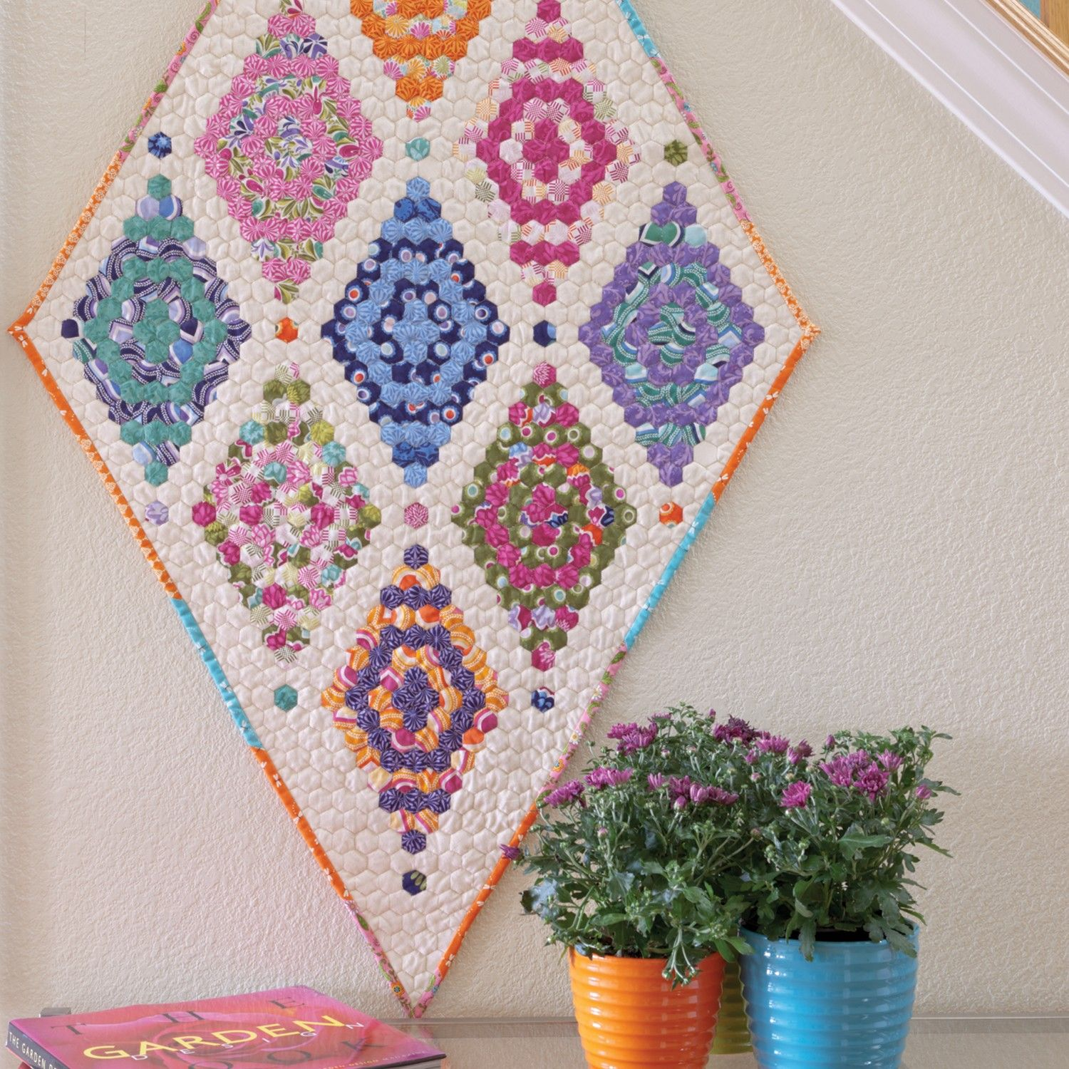 Go Linda S Garden Wall Hanging Pattern Hexagon Quilt