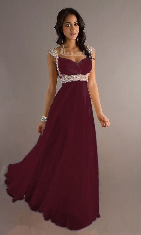 New Chiffon Cap Sleeve Long Formal Prom Dresses Party Bridesmaid ...