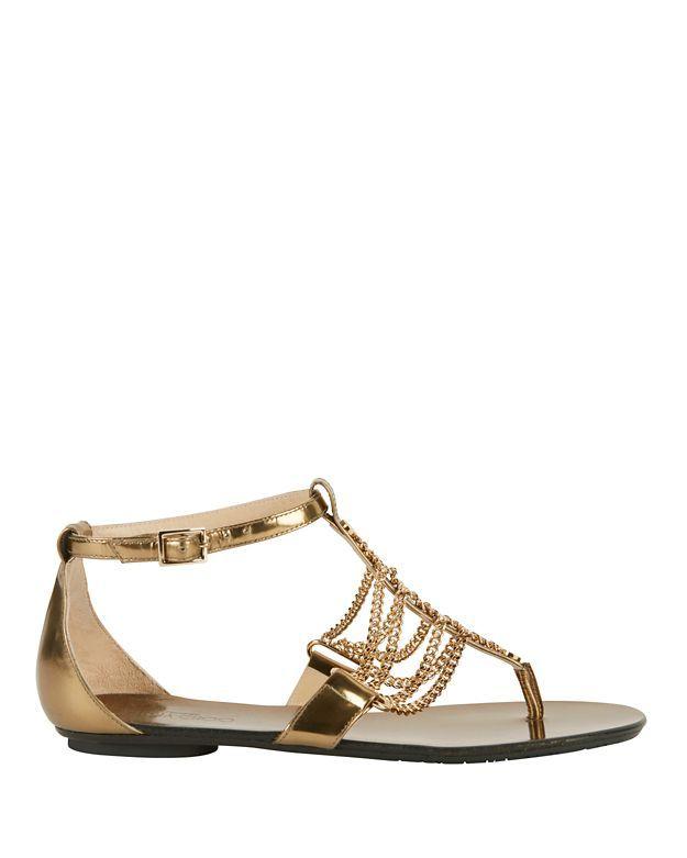 Jimmy Choo Wallace Chain Detail Metallic Leather Flat Sandals Modesens Metallic Flats Shoes Leather Sandals Flat Metallic Gold Shoes