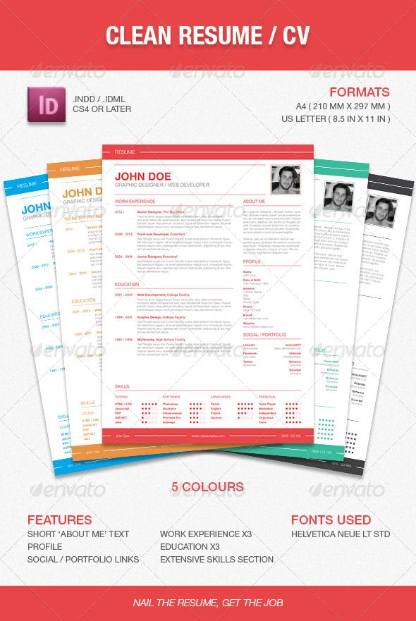 Clean Resume \/ CV U2014 InDesign INDD #red #easy U2022 Available Here    Good Font For A Resume