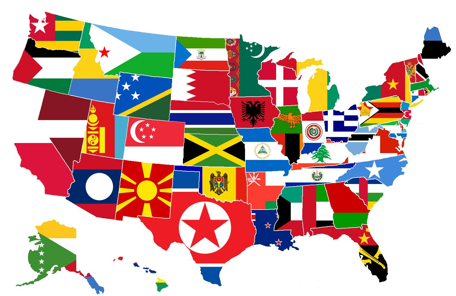 It Shows Each US State Covered By The Flag Of A Country With A - Us map popular redrawn states