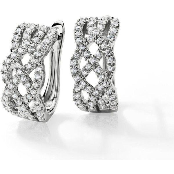 Blue Nile Braided Hoop Diamond Earrings In 14k White Gold 5 8 Ct 928 Liked On Polyvore Diamond Hoop Earrings Gorgeous Jewelry Diamond Earrings