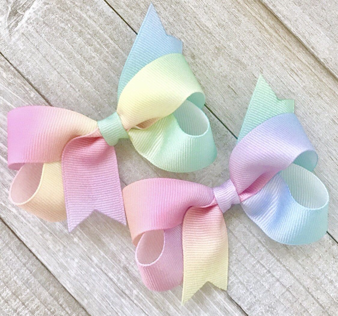 Double Pinwheel Big Sister Hair Bow Boutique Rainbow Clip Girl Pink Big Sis