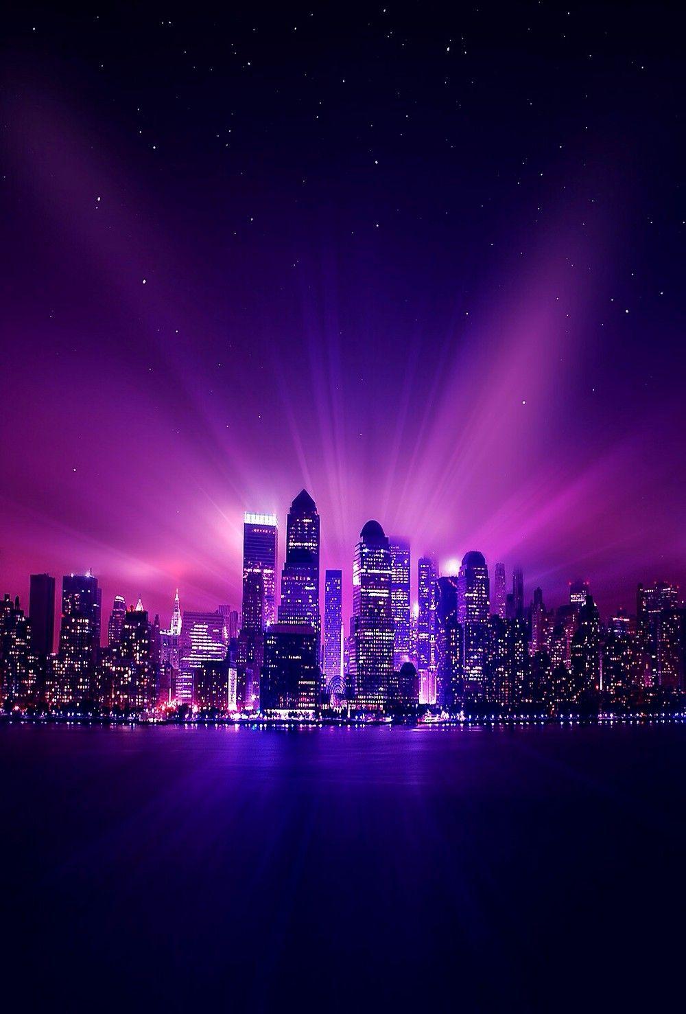A Violet Flame City Purple City Purple Wallpaper City Wallpaper Dark purple aesthetic wallpaper city