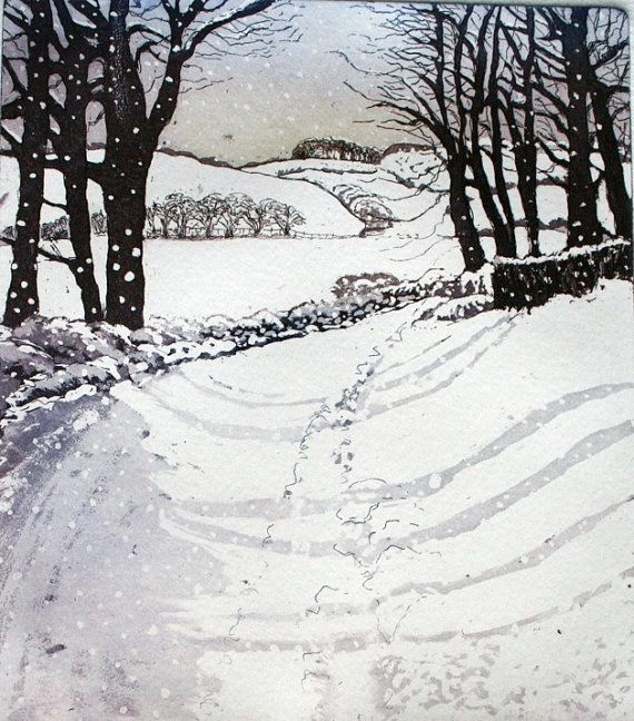 Snow had fallen... country lane in snow Etching and Aquatint by Sally Winter