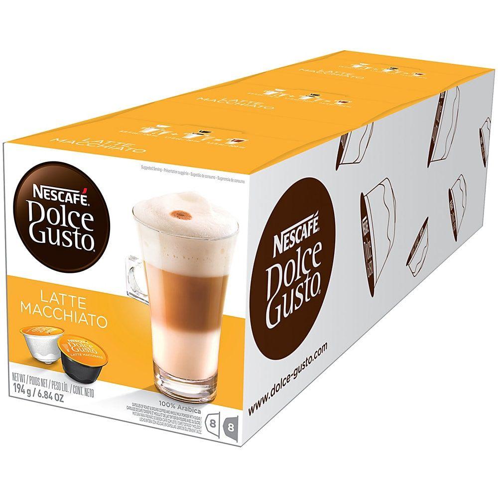 Nescafe Dolce Gusto Latte Macchiato Single-Serve Pods, 0.67 Oz, Pack Of 48 Pods