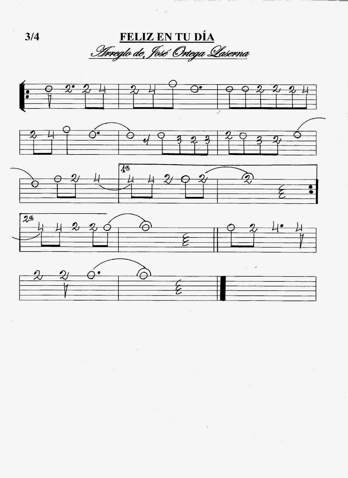 Partituras En Cifra Para Bandurria Y Laúd De José Ortega Laserna Felíz En Tu Día Partituras Hojas De Música Canciones De Guitarra