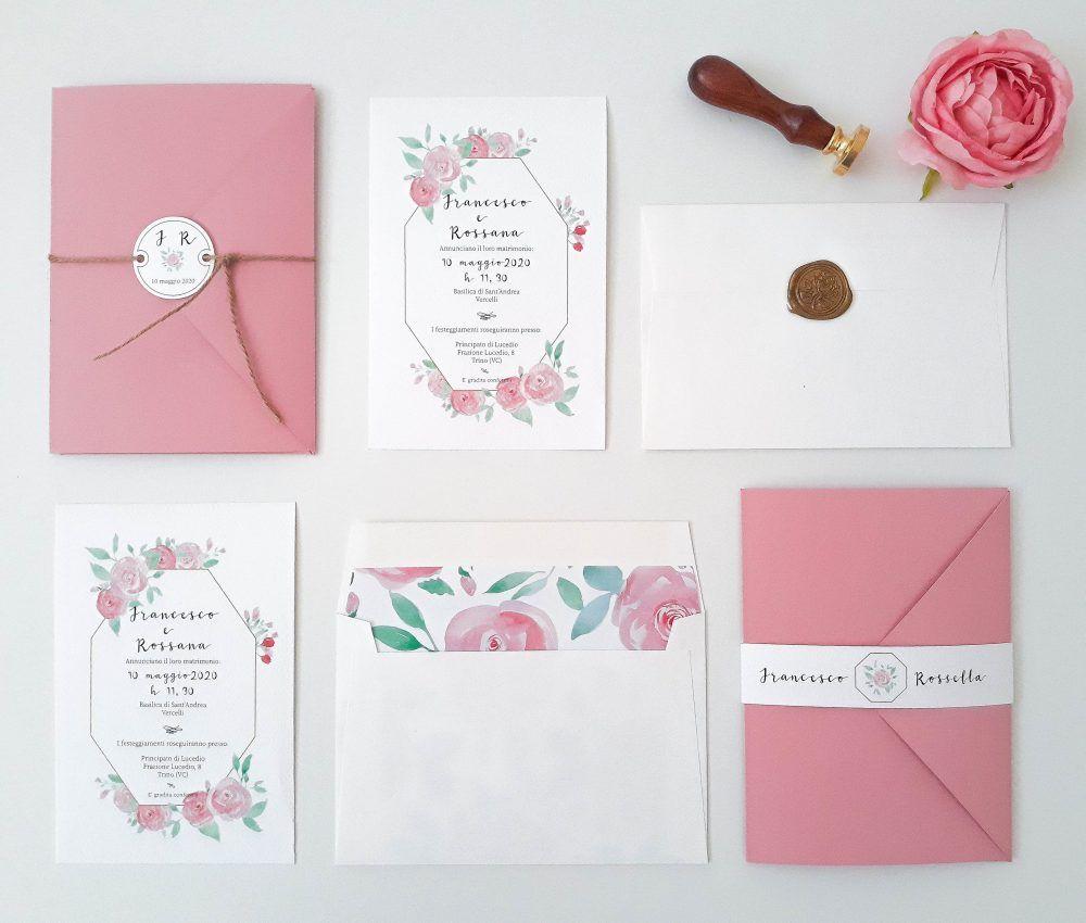 Partecipazioni Tema Fiori Coordinato Nozze Acquarello Rose Rosa Partecipazione Di Matrimonio Nozze Matrimonio