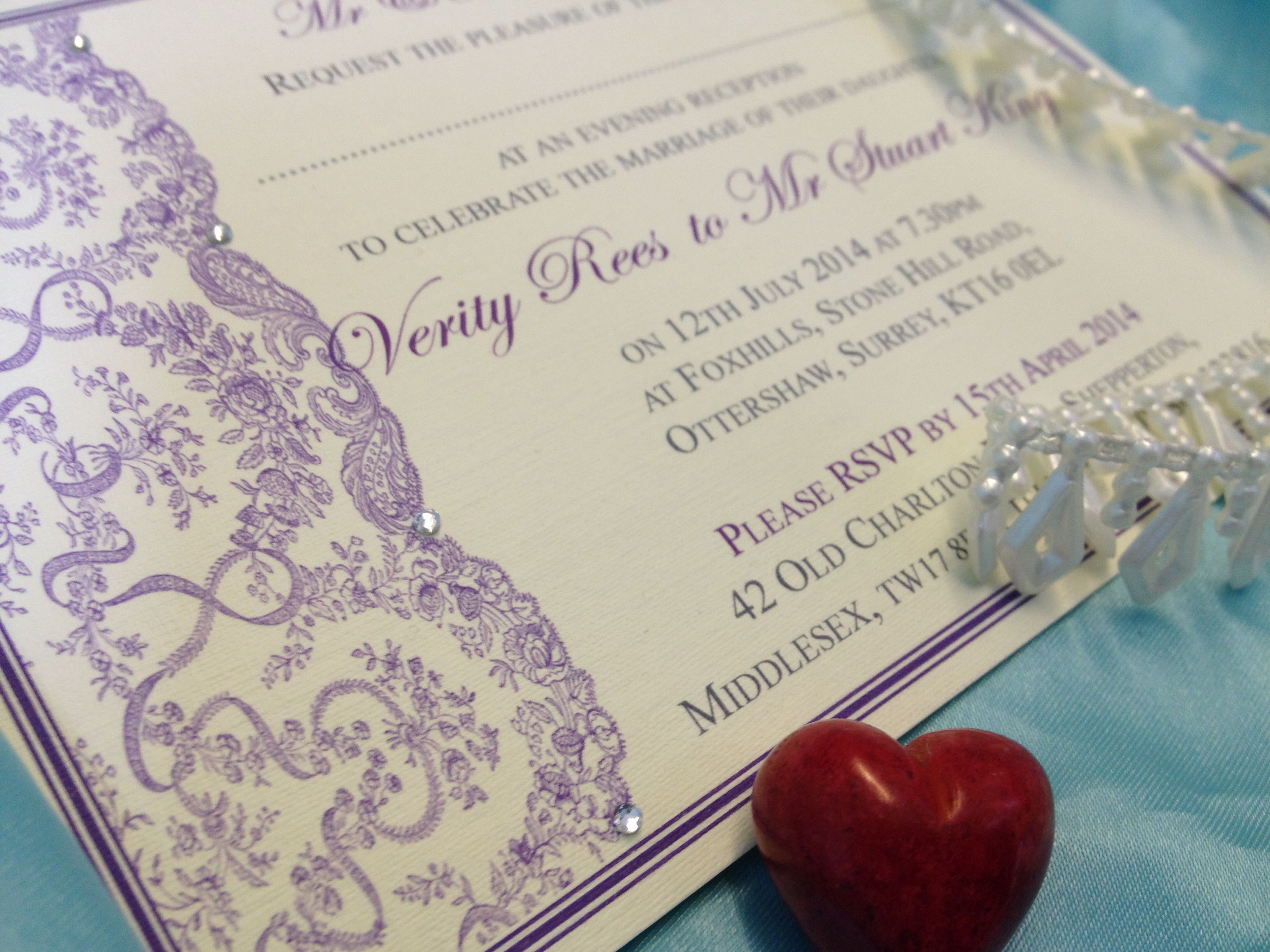 Purple bespoke vintage wallet and postcard wedding invitations with ...