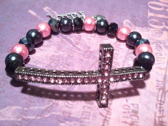 Pink and Black Faith #BeadedBracelet by RandRsWristCandy on Etsy, $8.00 #crossbracelet