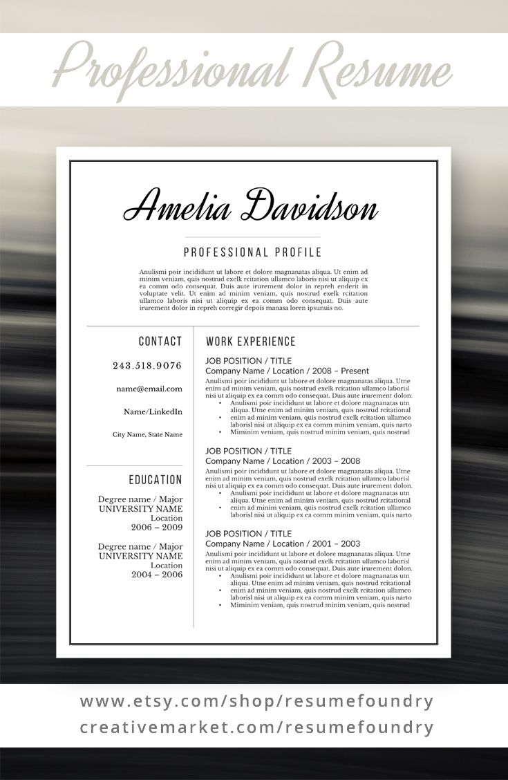 Microsoft Word Professional Letter Template Inspiration Professional Resume Template For Word 13 Page Resume  Cover .