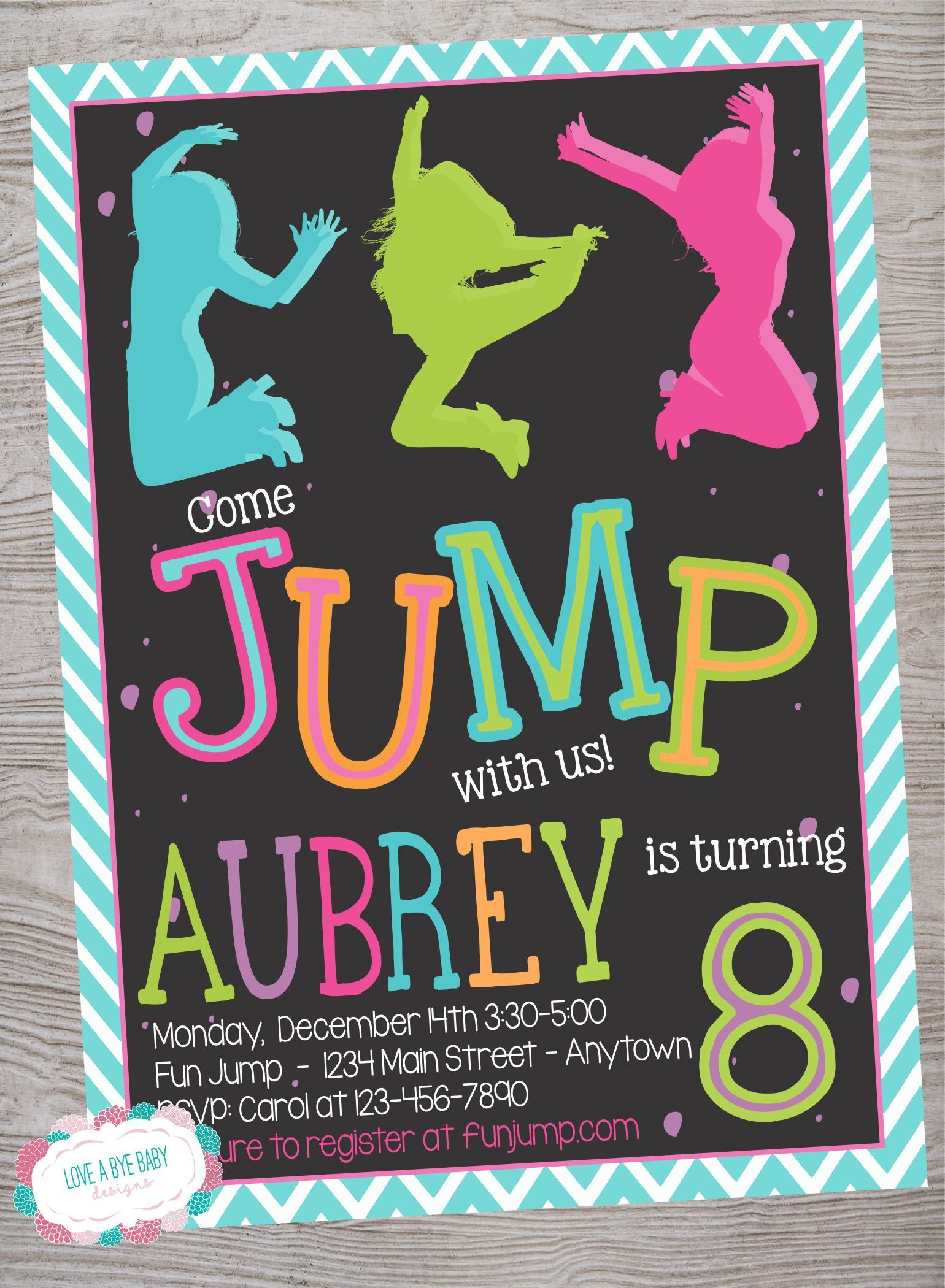 Jump Birthday Invitation Bounce Invite House Trampoline Party