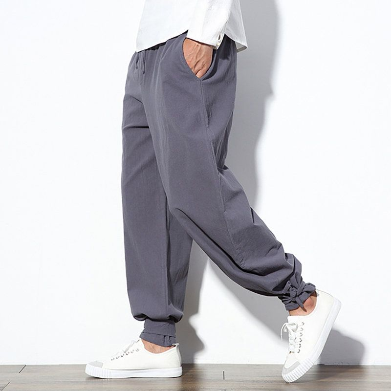 09ee95bc34 Mens Casual Baggy 100%Cotton Wide Leg Pants Solid Color Casual Loose  Trousers Online-NewChic