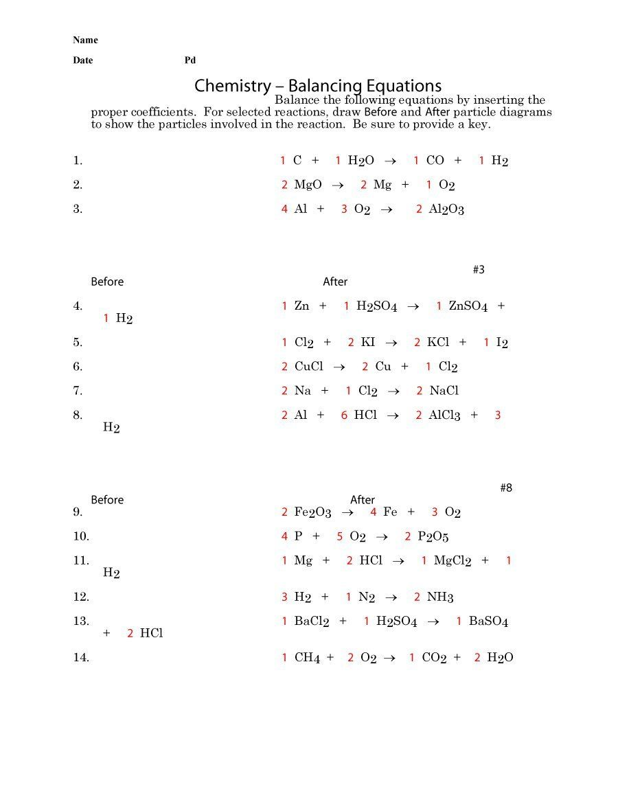 Download balancing equations 37 Chemistry worksheets