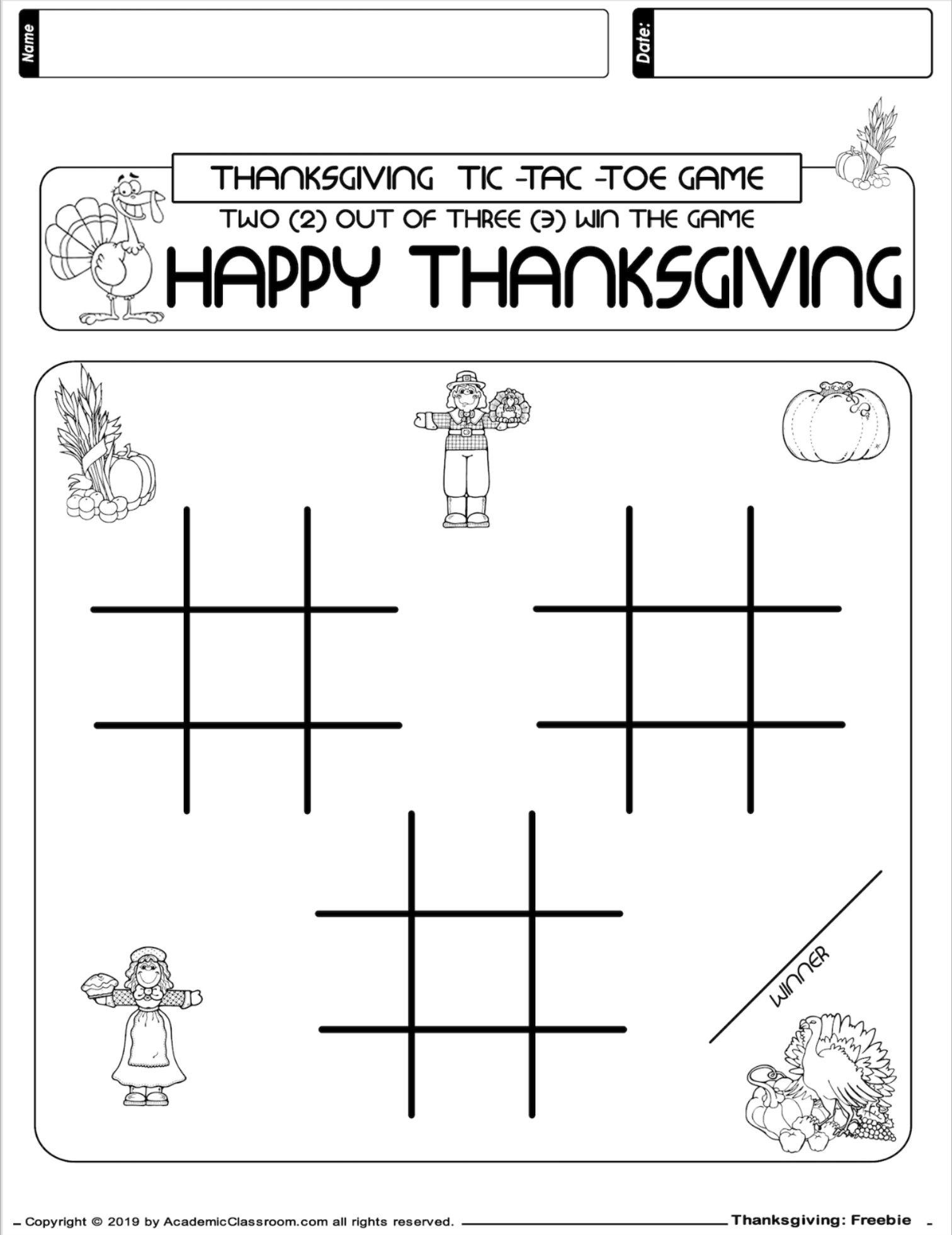 Free November No Prep Math And Literacy Packet