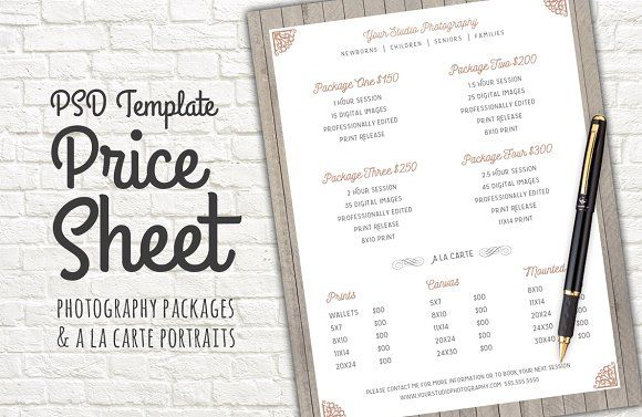 Price Sheet Template PSD Photography price list, Template and Website - Price Sheet Template