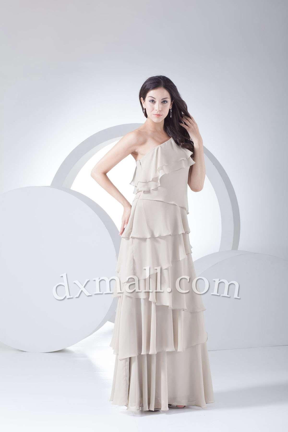 Sheath/Column Wedding Guest Dresses One Shoulder Floor Length Chiffon picture shown 130010400146