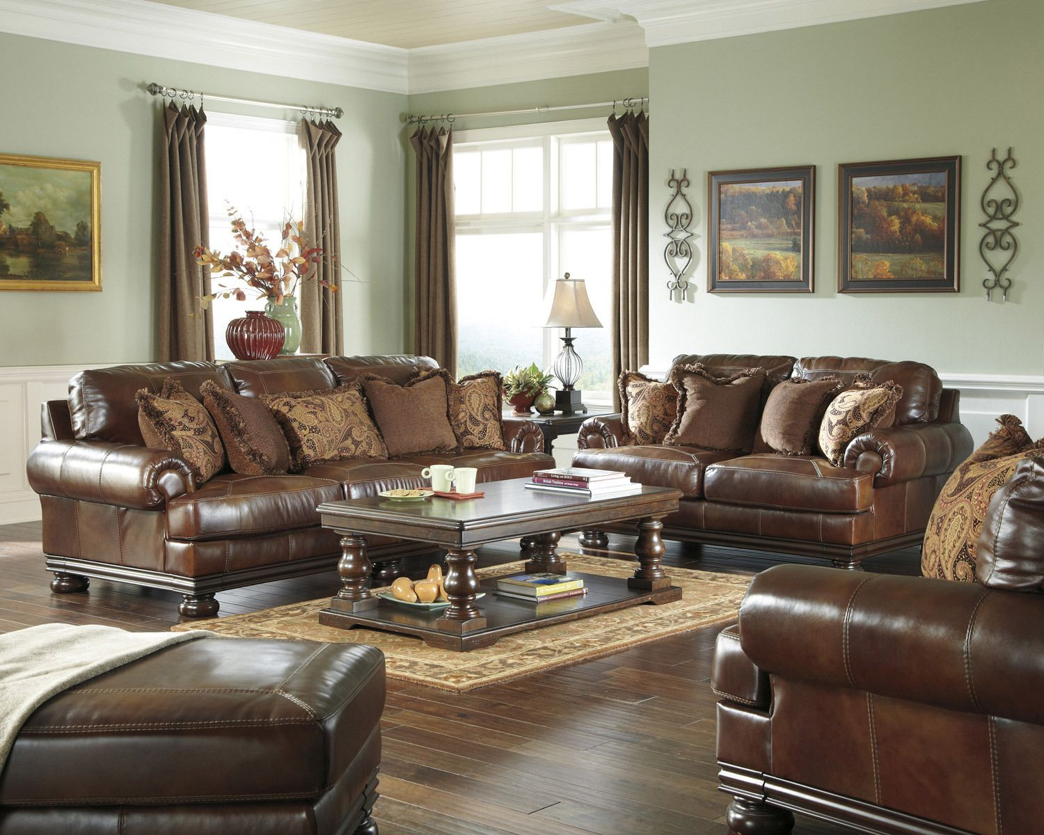 Hutcherson Sofa Set Ashley Home Gallery Stores Living Room Leather Couch And Loveseat Set Leather Living Room Set