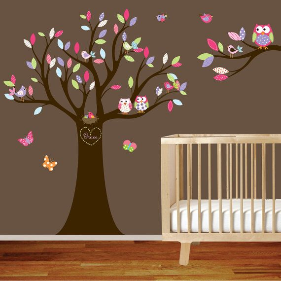 Vinyl Wall Decal Nursery Wall Decal Pink Baby Tree With Animals - Custom vinyl wall decals nursery