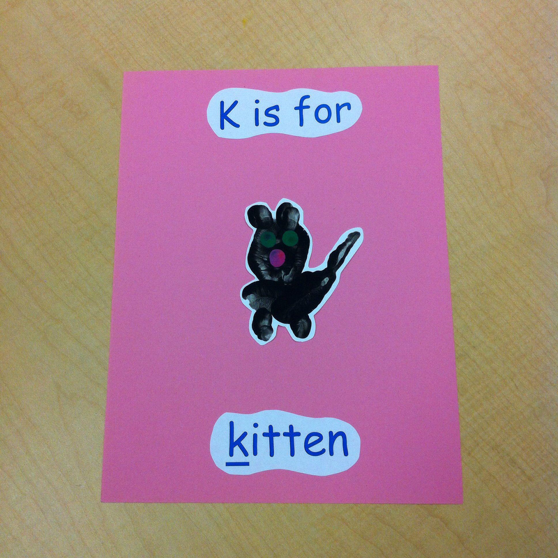 K Is For Kitten Handprint Pic Kitten Lettering Pics