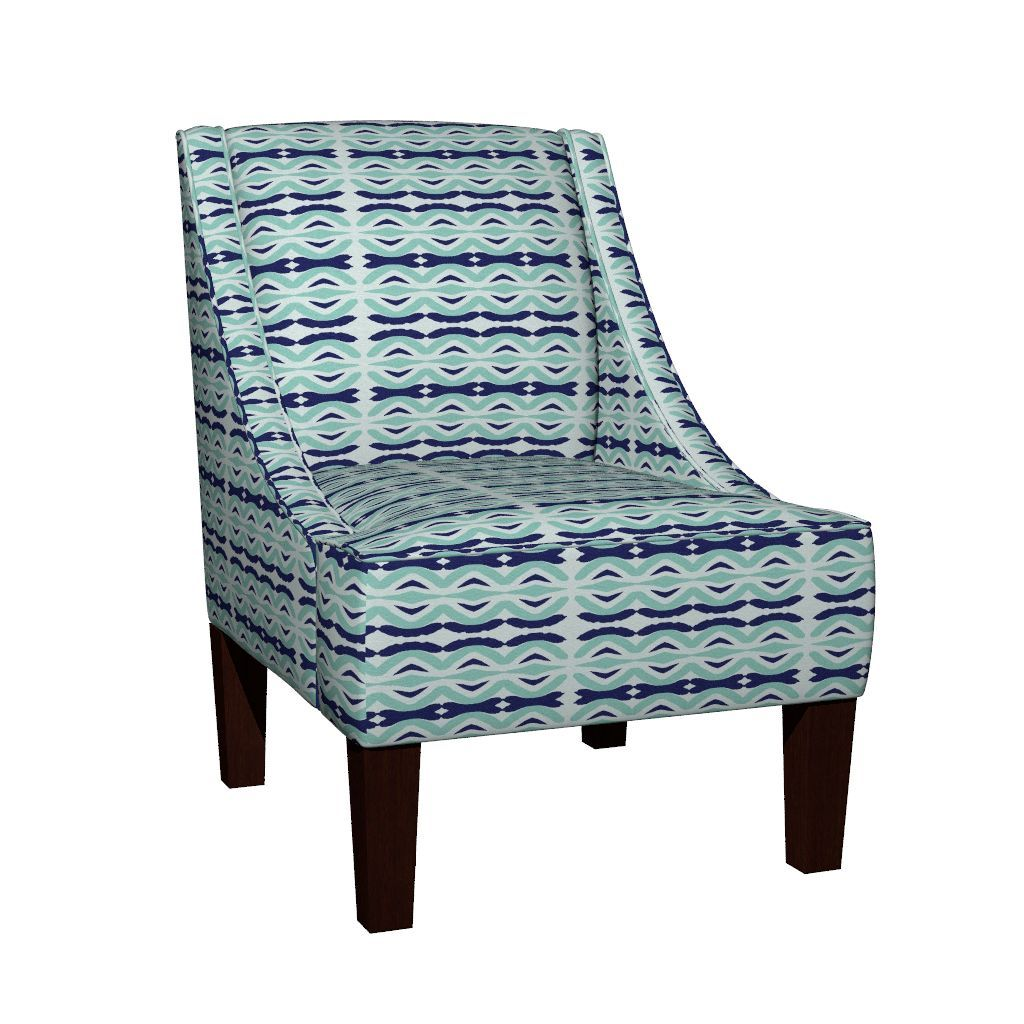 Venda Sloped Arm Chair featuring Ikat diamonds - sea by drapestudio   Roostery Home Decor