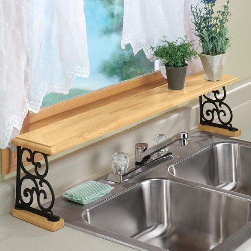 Kitchen Window Plant Shelf: DOUBLE SINK WOOD AND CAST IRON OVER THE SINK SHELF