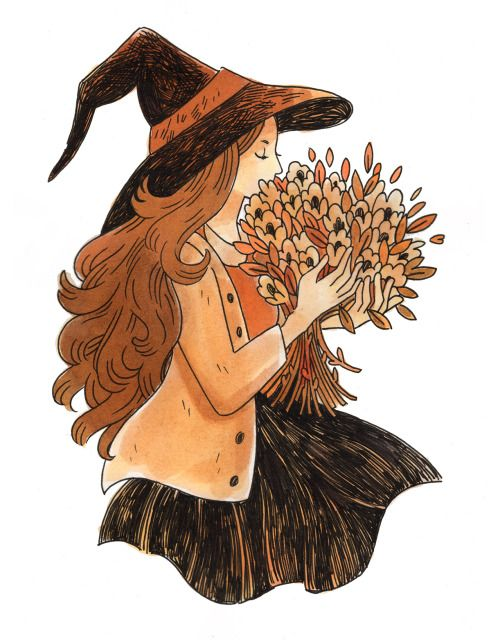 Spooky Fall Wallpaper Laura Heikkala Inktober Characters In 2019 Witch