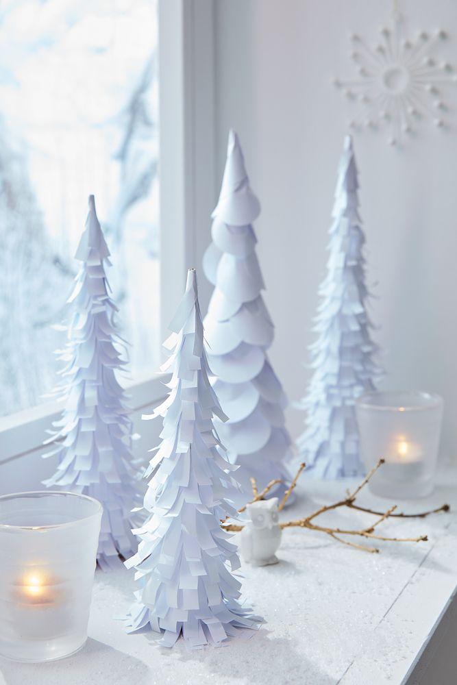 Stimmungsvolle Bäume aus Papier | Weihnachtsdeko | Pinterest | Baum ...