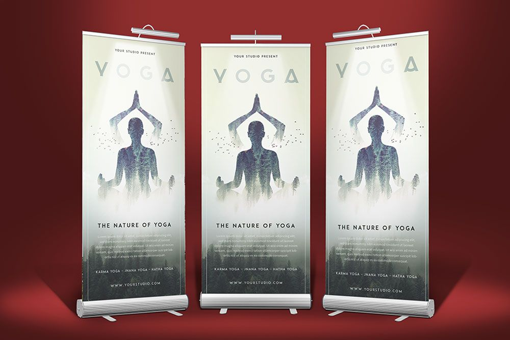 3 Stand Roll Up Banner Mockup Rollup Banner Mockup Yoga Free Logo Mockup Mockup Free Psd Free Mockup