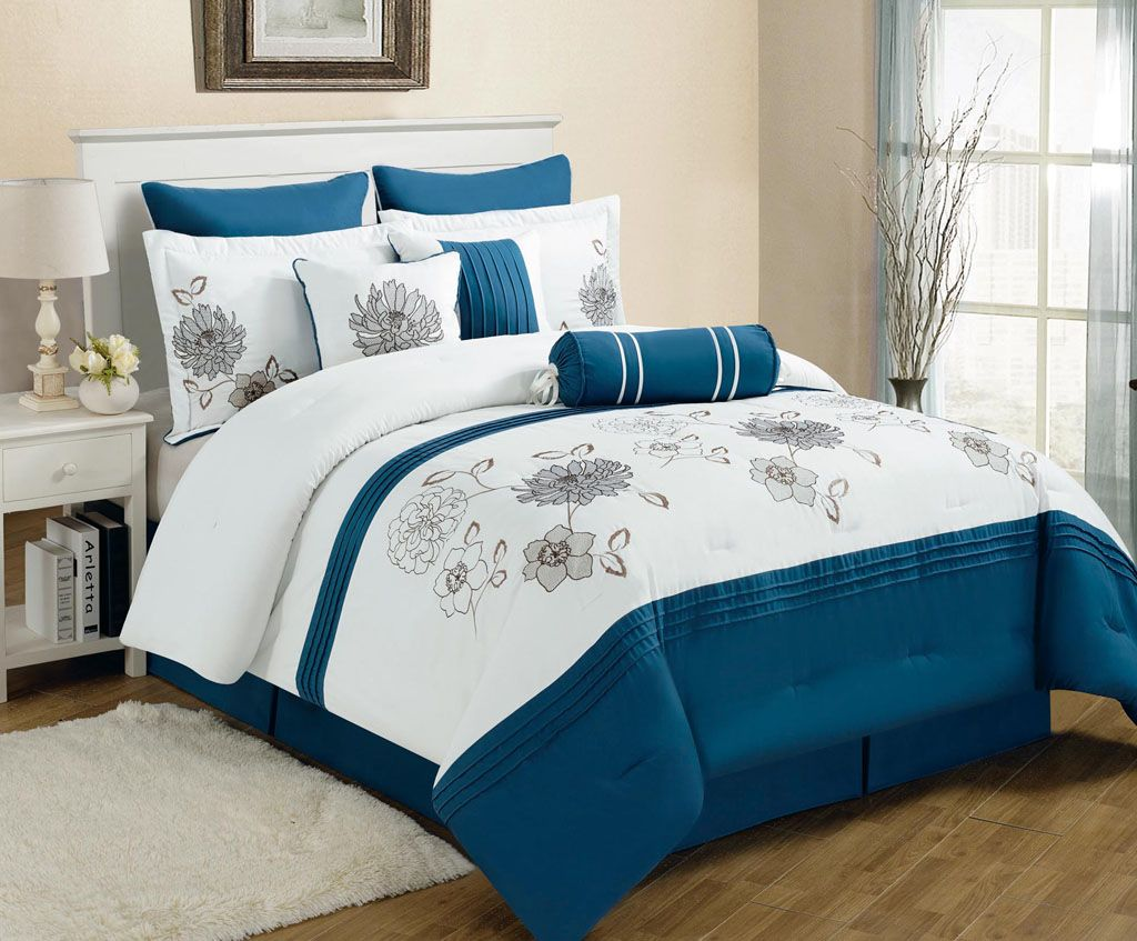 Piece King Cremon Diva Blue And White Comforter Set