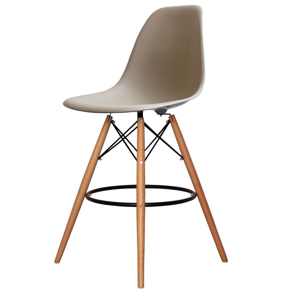 Charles Eames Style Beige Plastic Bar Stool Bar Stools