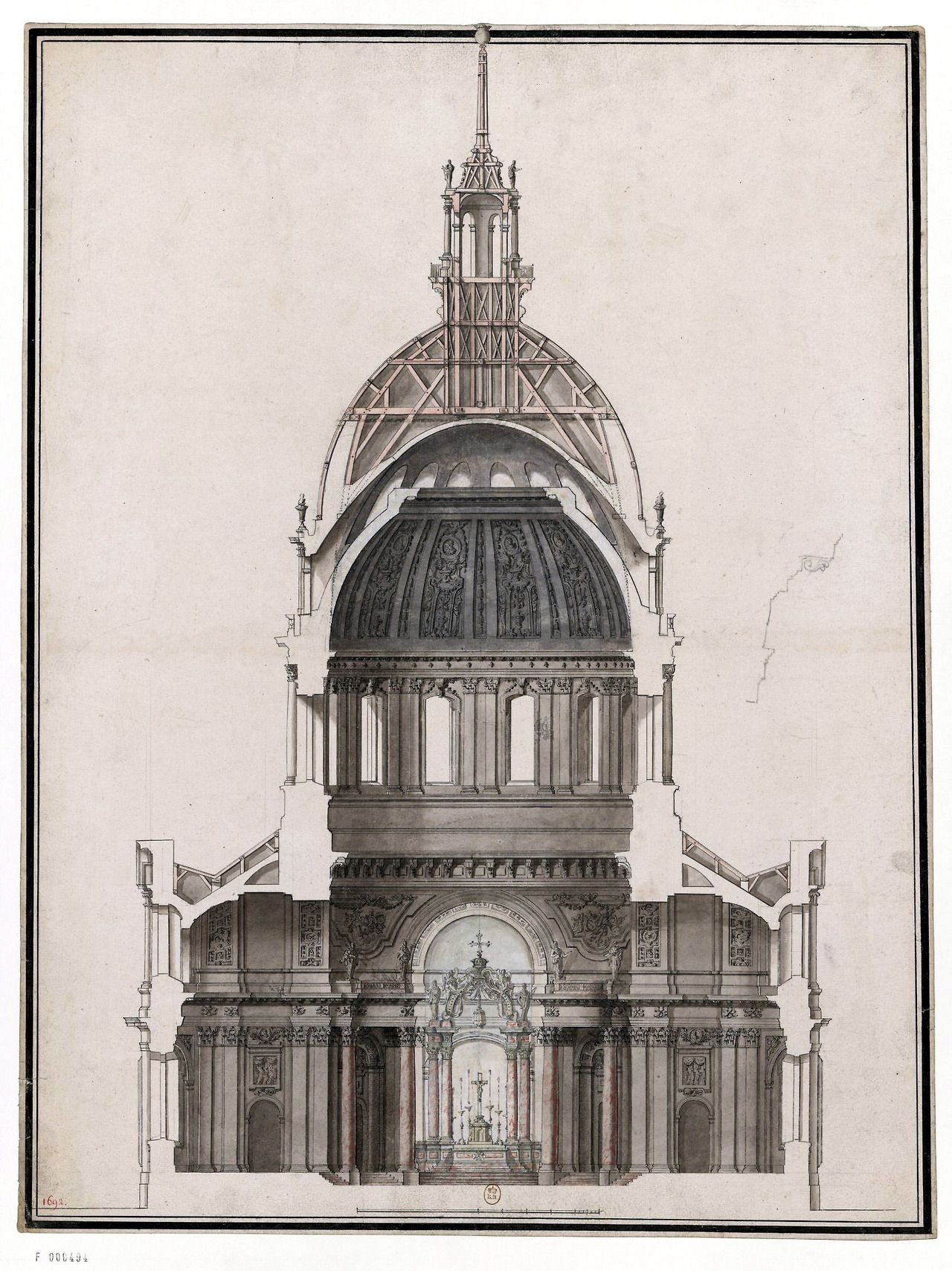Section of the Dome des Invalides in 1691, Paris | Badass ...