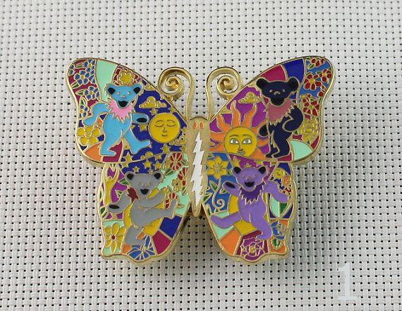 3863769fa85 Grateful Dead Hat Pins Butterfly Bears Lighting Bolt Pin 2 1 3 Inch ...