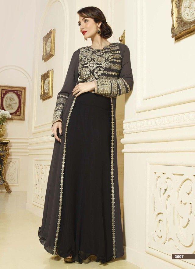 Stylish Black Georgette Resham Embroidery Work Salwar Suit  http://www.angelnx.com/