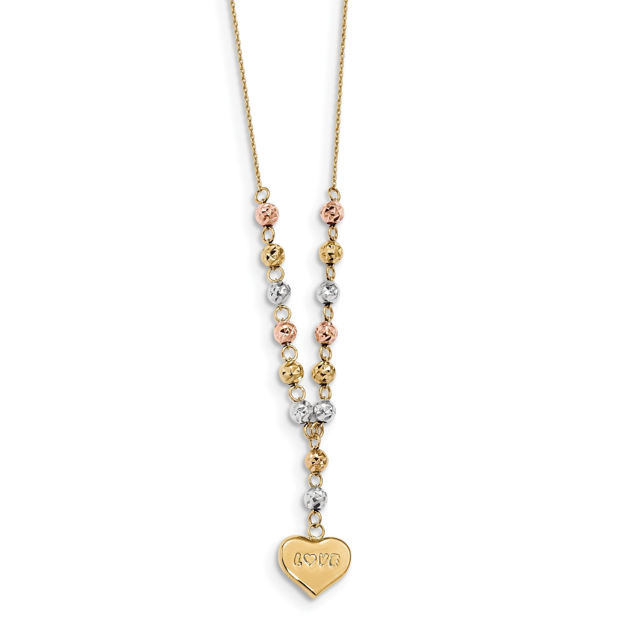 14k Tri-color Diamond-cut Beads w/Love Heart Y-Necklace