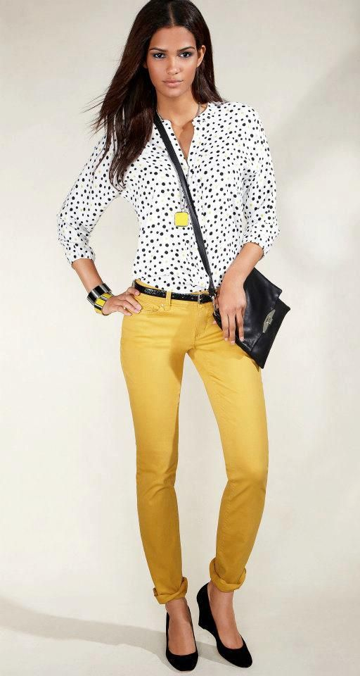 Cute blouse & colored jeans appropriate for office ... - photo#16