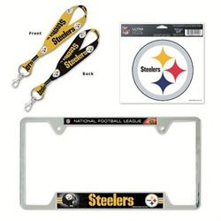 pittsburgh steelers license plate frame and key chain gift set