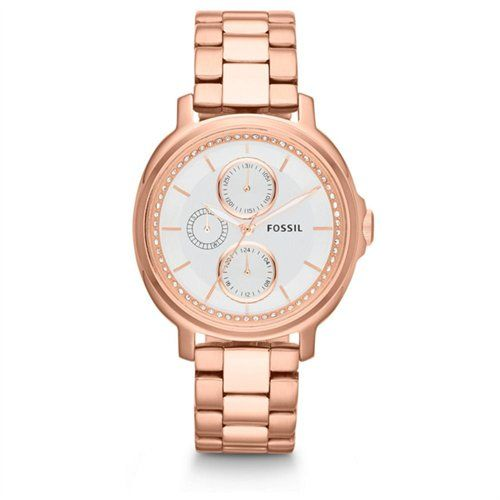 $90 Fossil Chelsey Multi-Function Silver Dial Rose Gold Sainless Steel Ladies Watch ES3353