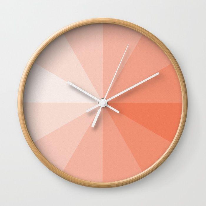 Coral Wall Clock By Ktparkinson Society6 Coral Decor Coral Walls Clock