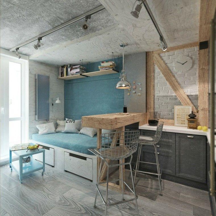 Espacio multifuncional con muebles multifuncionales. pared y sofá ...