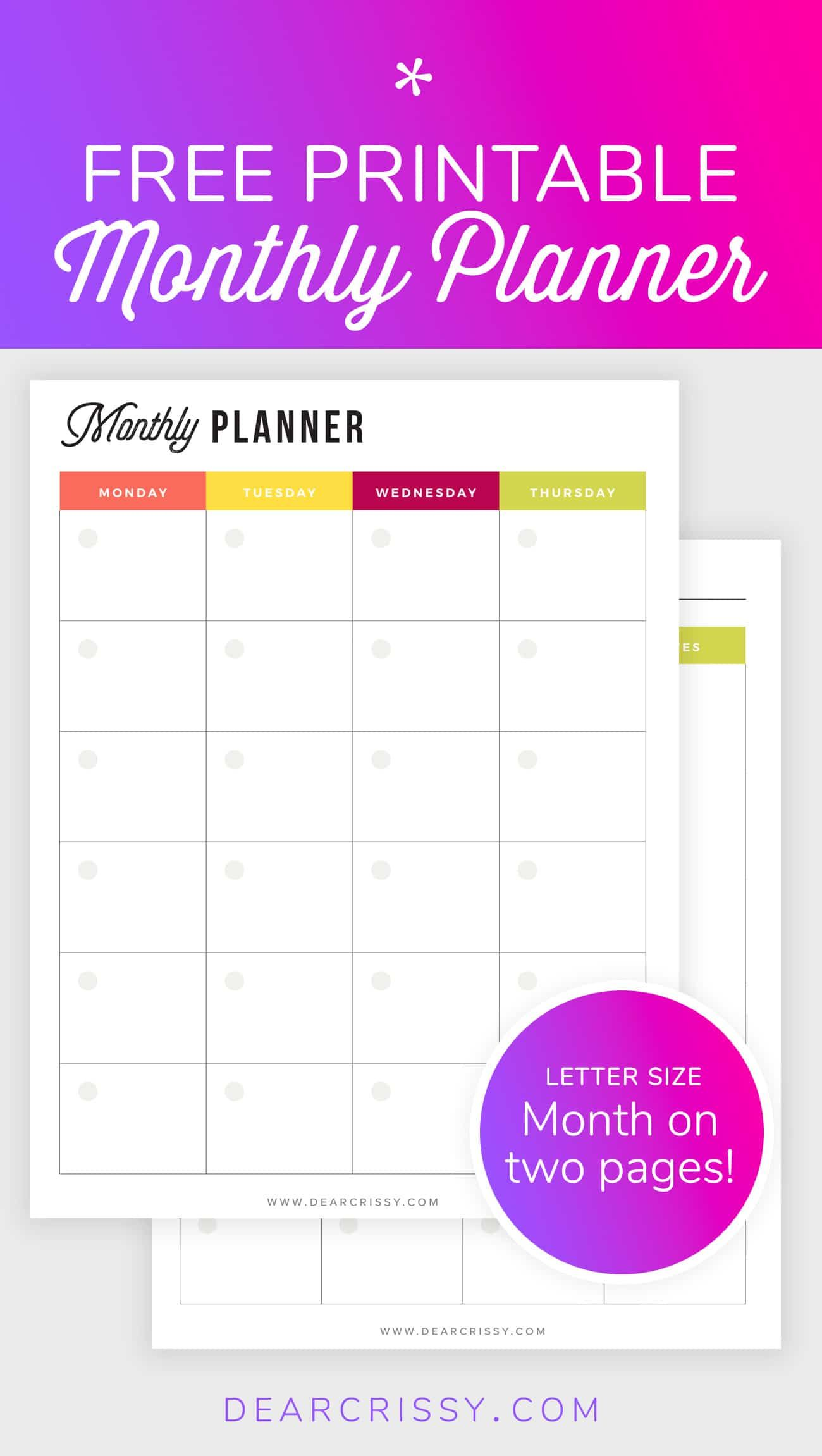 Free Printable Monthly Planner Mo2p Letter Size Planner Freebie