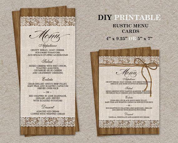 Diy Rustic Wedding Menu Cards Burlap And Lace Menu Card Template Printable Dinner Party Menus Rustic Wedding Menu Rustic Wedding Diy Wedding Menu Template