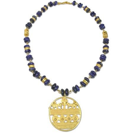 Necklace of pre-Columbian tradition with Lapis lazuli