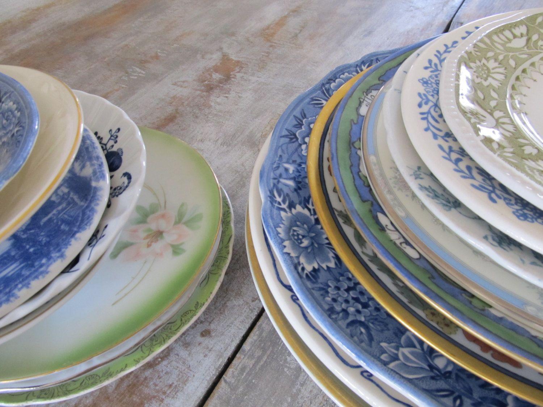 Set (15) Blue Green PLATES Berry BOWLS Dinnerware Place