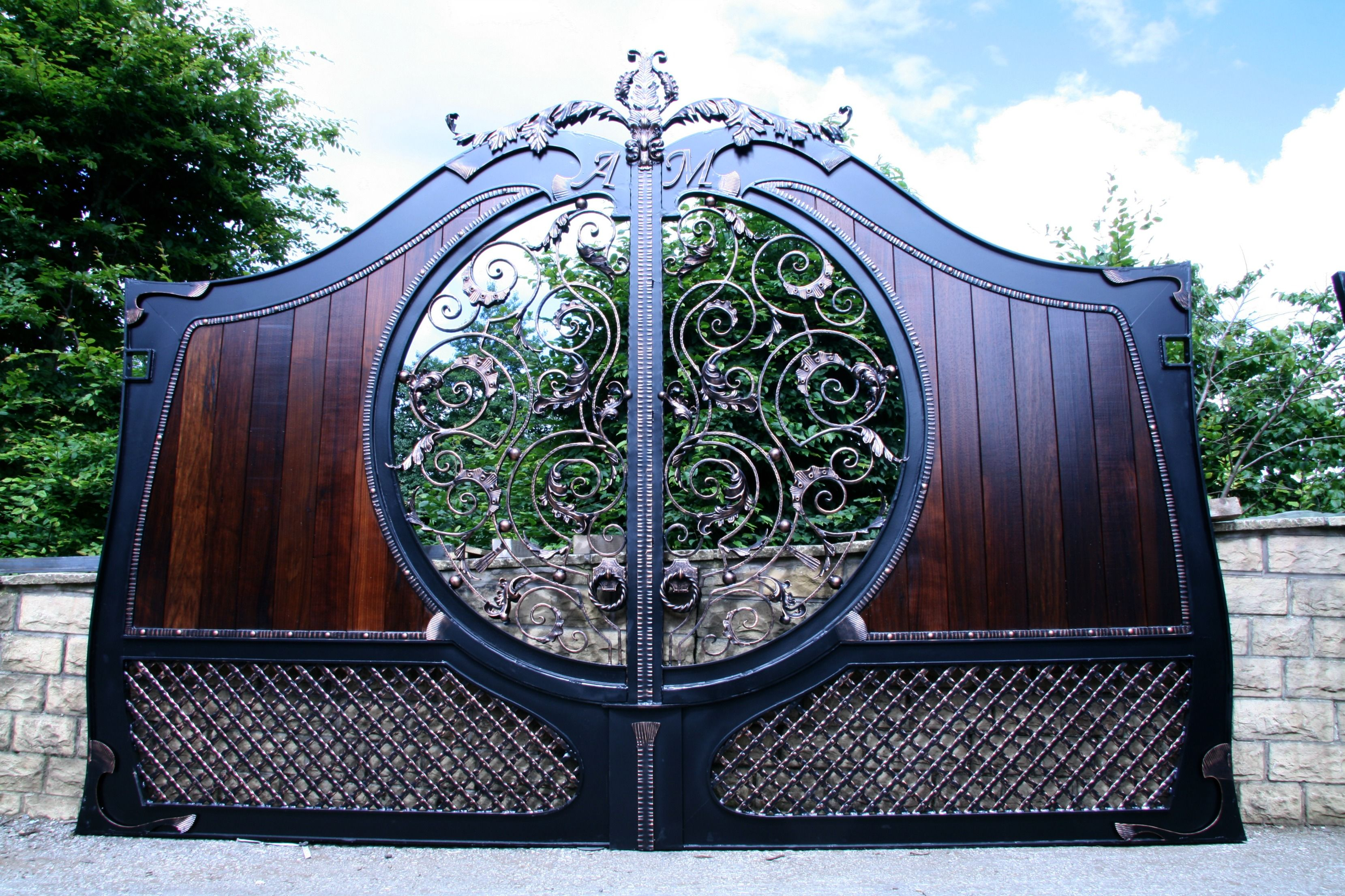 Aphrodite Timber Gates With Bronze Patina Ironwork Timber Gate Design Manufacturer Art Entrance Driveway Home Gate Design Iron Gate Design Iron Gates