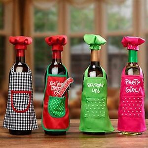 Wine bottle apron chef set christmas party wine decor for How to decorate a wine bottle for a gift